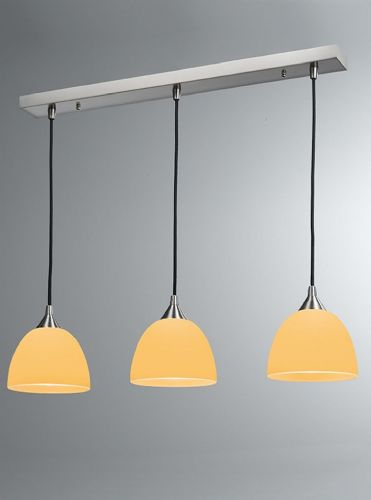 Franklite FL2290/3/937 Satin Nickel & Orange Pendant Light
